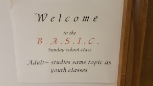 B.A.S.I.C. Adult Class  Located in Basement